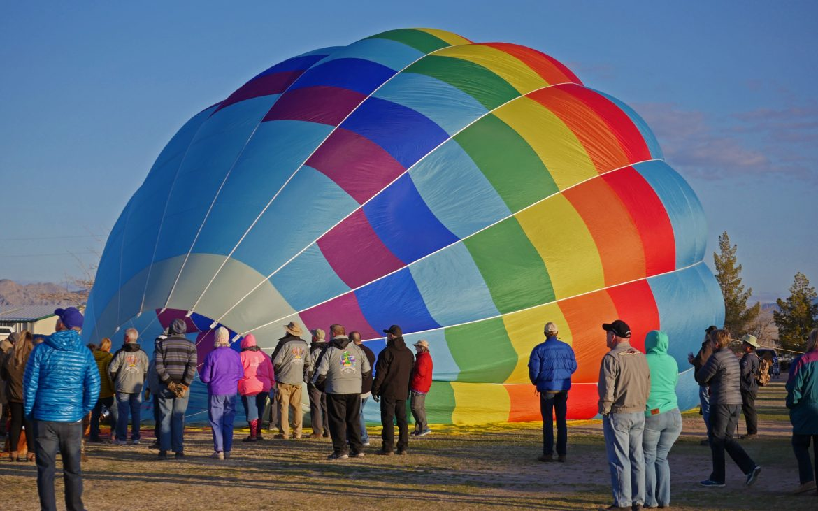 Air balloon on the ground before takeoff