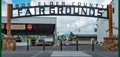 Large arching entryway sign to fairgrounds