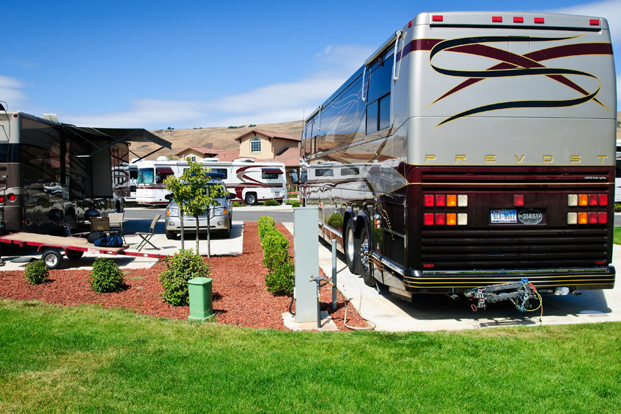 RV backed into lot at Coyote Valley RV Resort