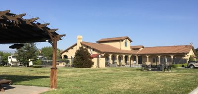 Large spanish clubhouse at Coyote Valley RV Resort