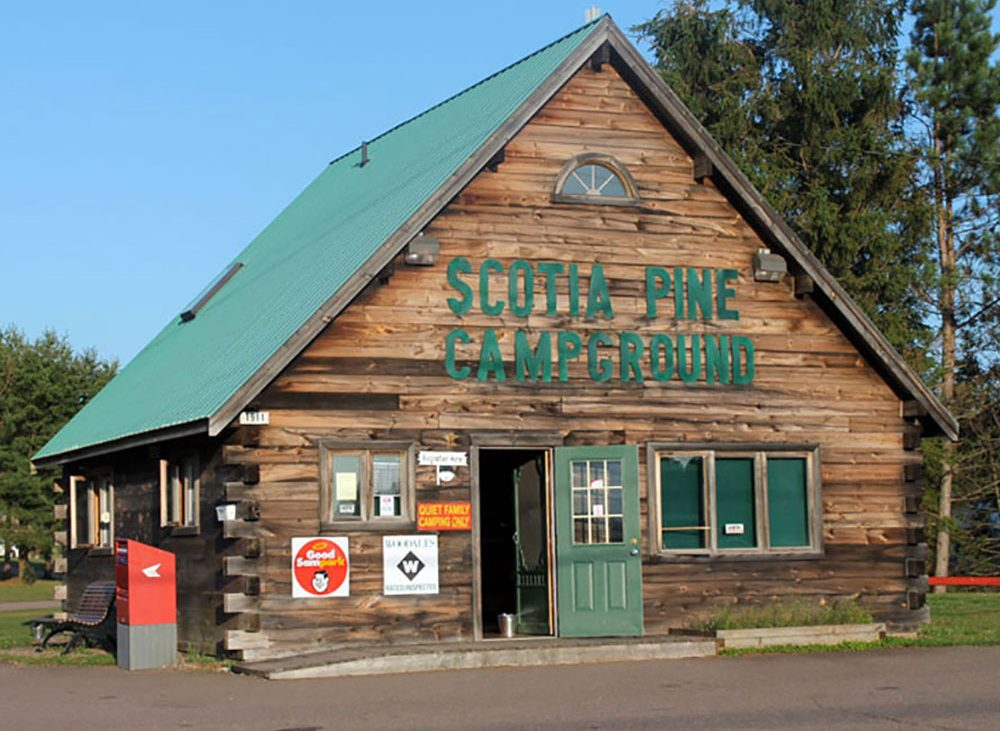Wooden cabin store for Scotia Pine Campground