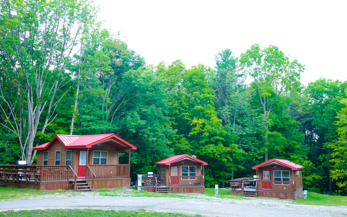 Red camping cabins amid woods