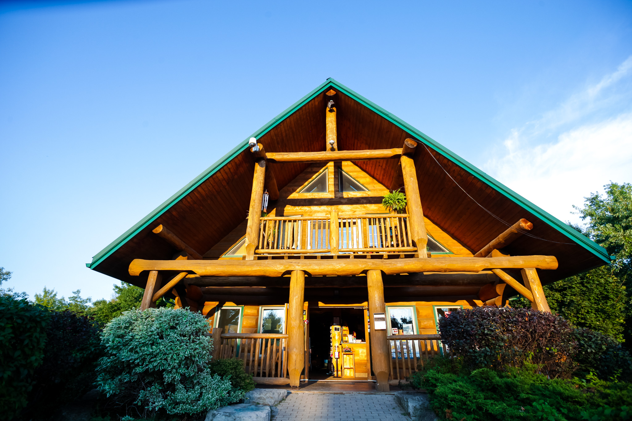 Wooden cabin-style clubhouse of the Bissell's Hideaway Resort