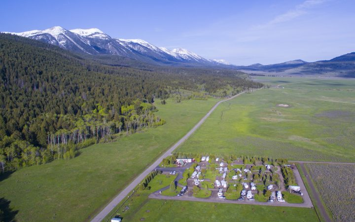 Aerial photograph of RV Park during the day.