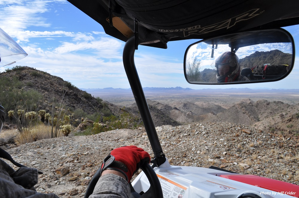 Interior of off-road vehicle in the desert