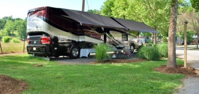 Large family RV parked at spot at Big Meadow Campground