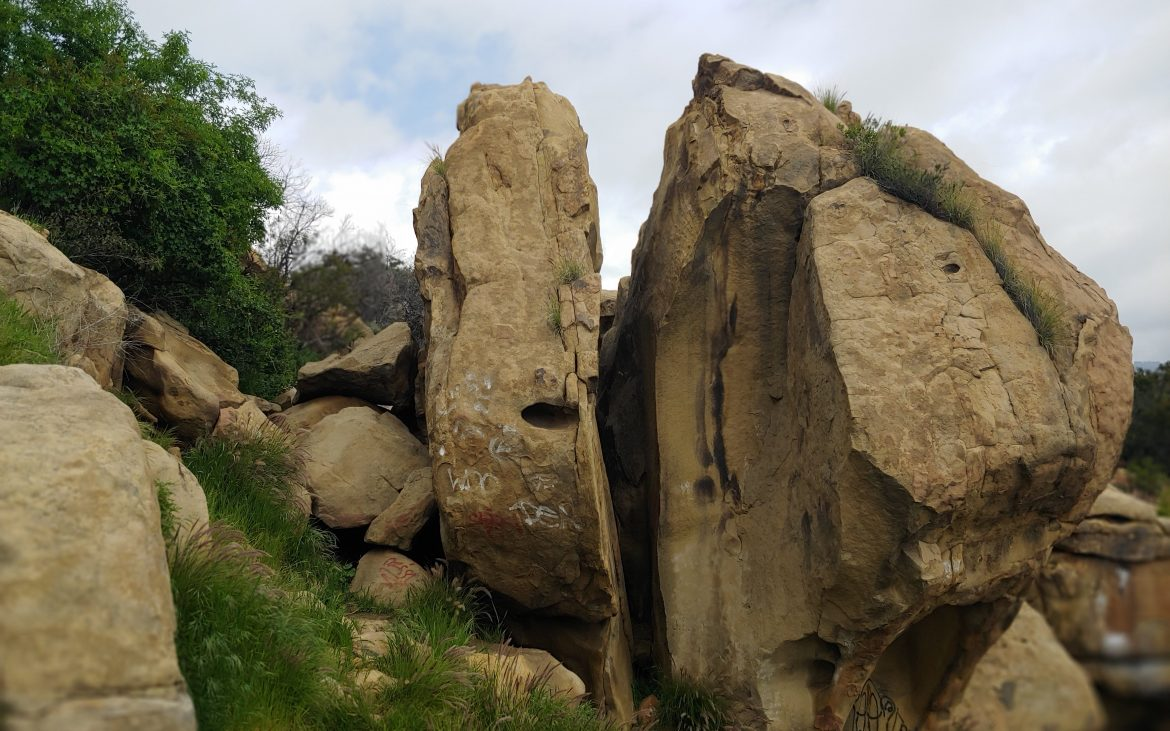 Large stone wall at Stoney Point in Southern Calfornia