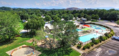 Aerial view of bright and clean community pool surrounded by lush trees