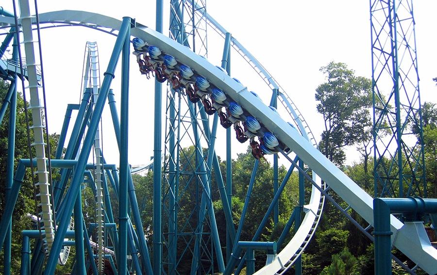 Riding upsidedown on the Alpengeist coaster at Busch Gardens.