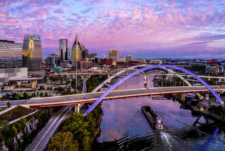 Nashville,TN dawn aerial view