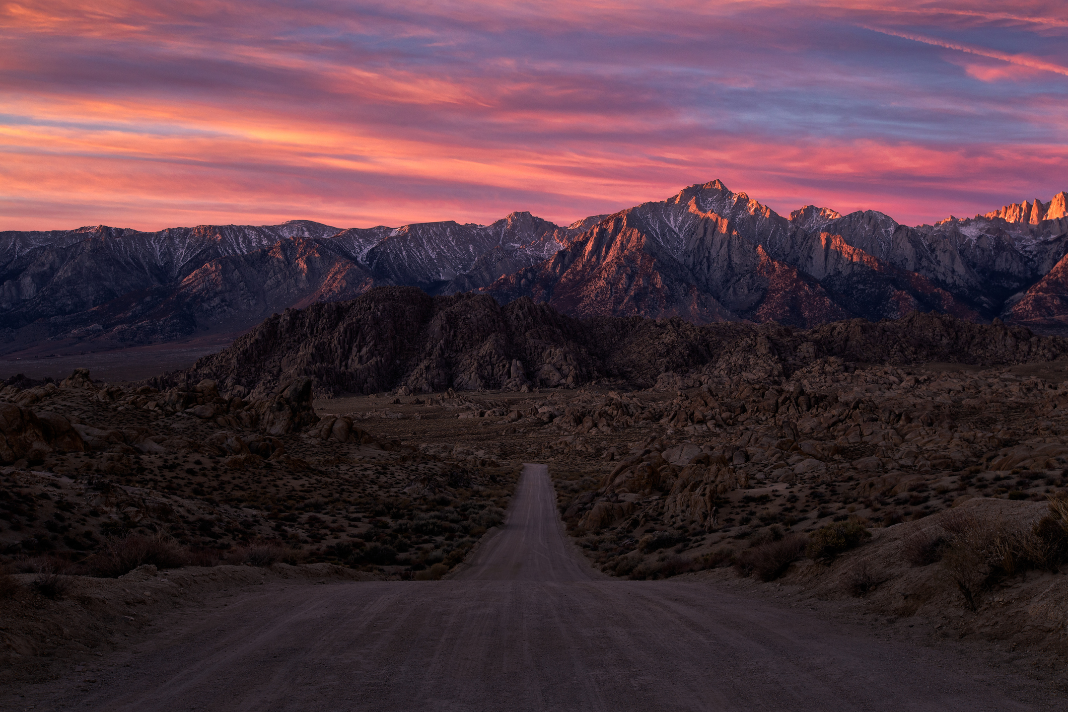 Sunrise from the iconic road in the Alabama Hills, Lone Pine, California