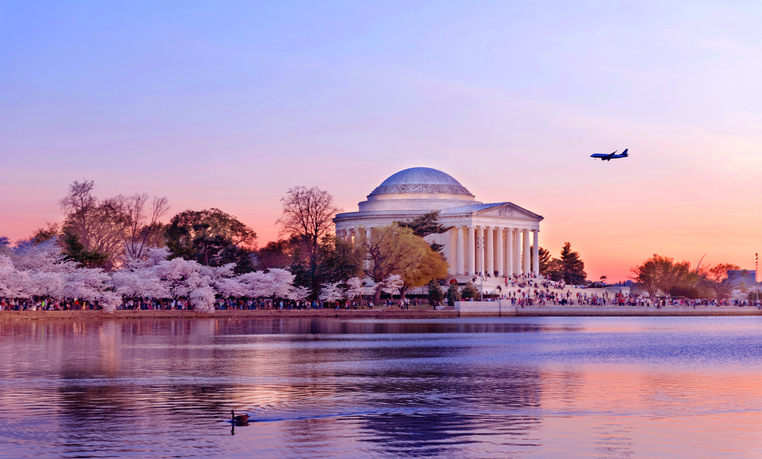 National Cherry Blossom Festival in Washington DC, sunset view of the Jefferson Memorial