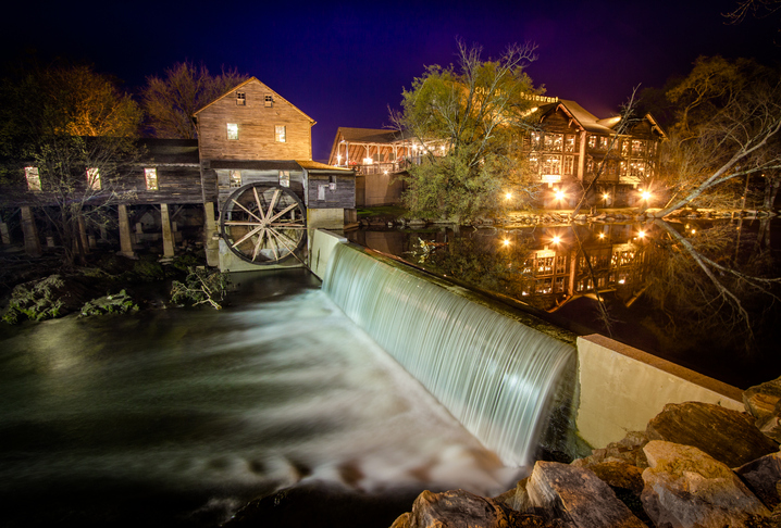 Pigeon Forge, Tennessee, USA - March 26, 2016: The exterior of the Old Mill Restaurant and grist mill in Tennessee.
