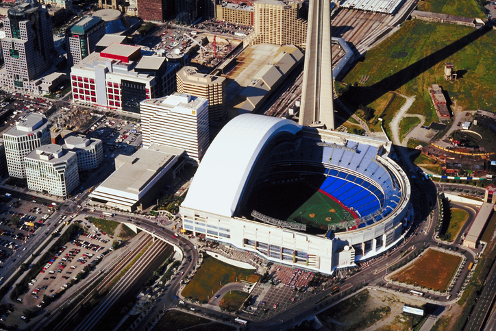 Aerial view of Rogers Centre in Downtown Toronto