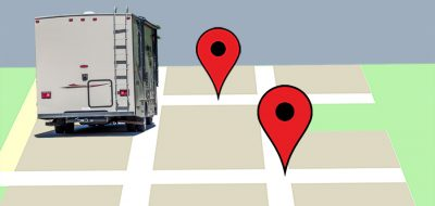 A photo illustration of a motorhome against a GPS map background.