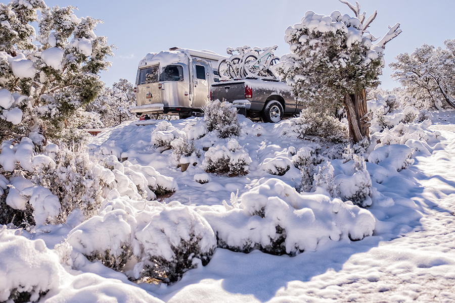 Snow covers the Currens' Airstream trailer at Navajo National Monument.