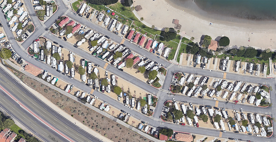 Aerial view of an oceanside RV park.