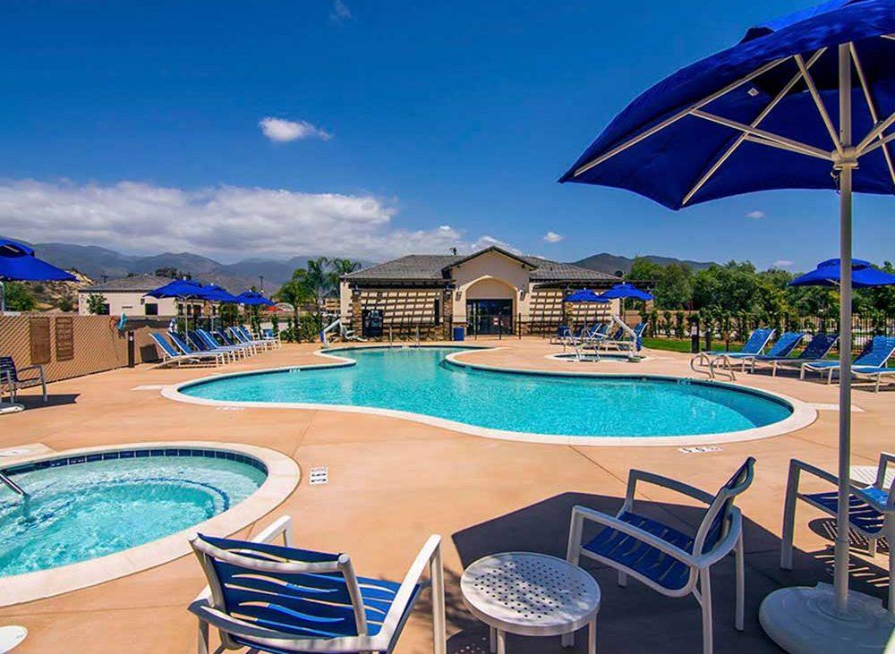 Empty resort-style community pool