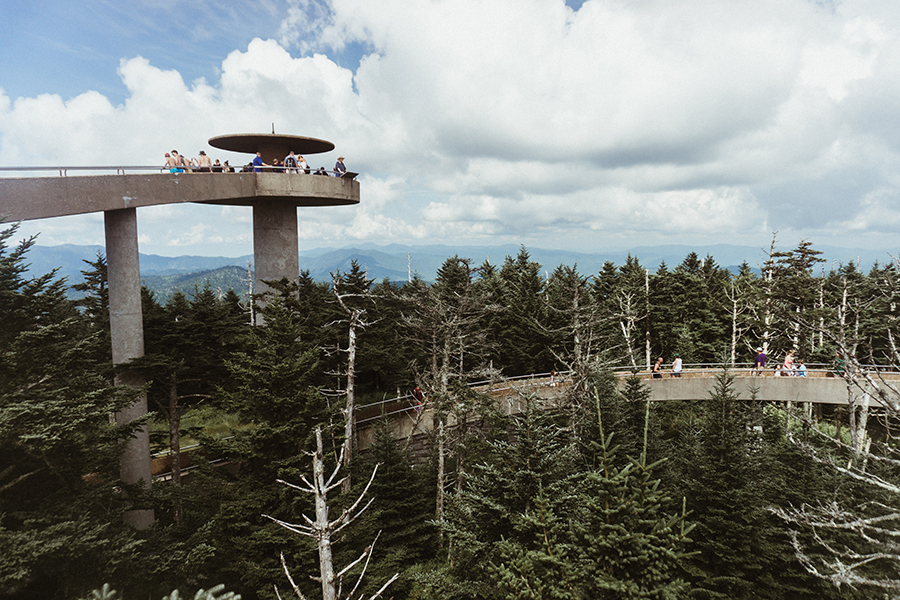 Mountain vistas greet visitors at the observation tower on Clingman's Dome.