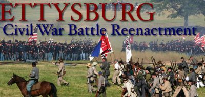 Marketing photo of civil war reenactment battle