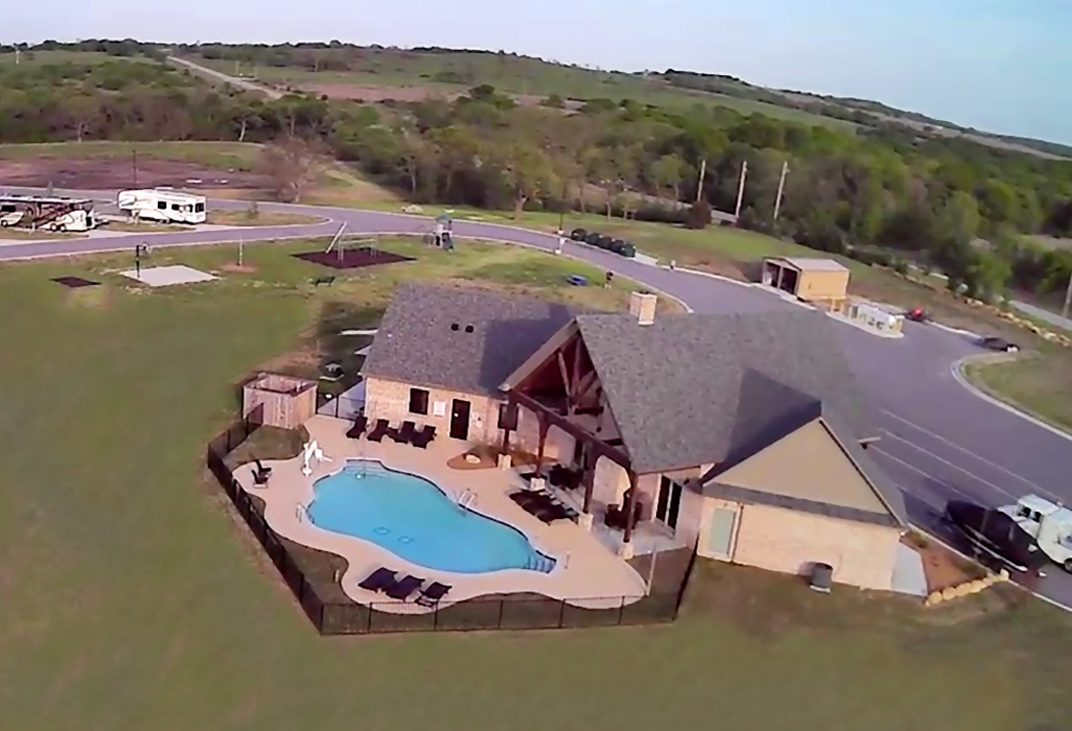 Aerial view of pool and clubhouse