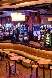 Inviting lounge area inside active casino