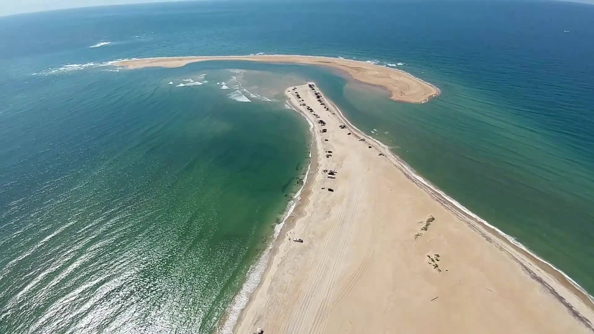Aerial shot of the Outer Banks.