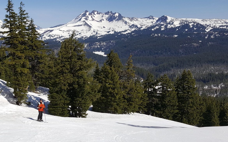 Skier in orange jacket on snowy mountain