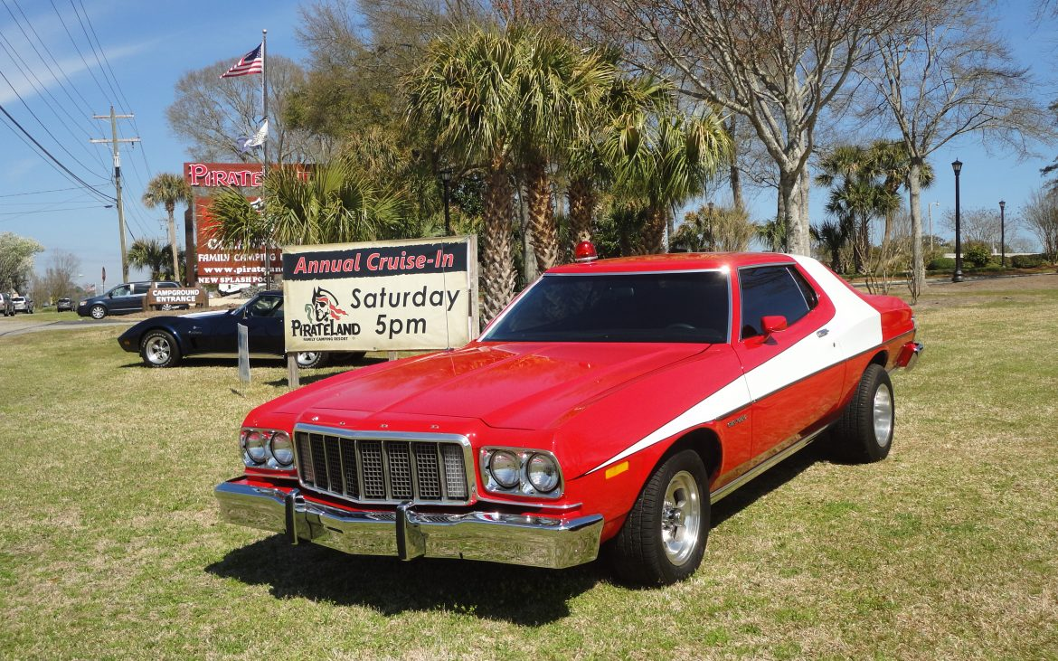Red and white classic muscle car