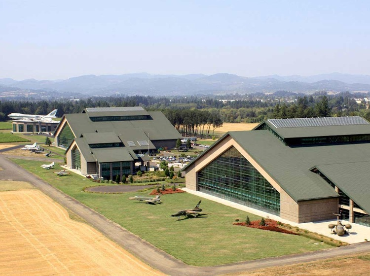 Aerial view of Evergreen Aviation Museum