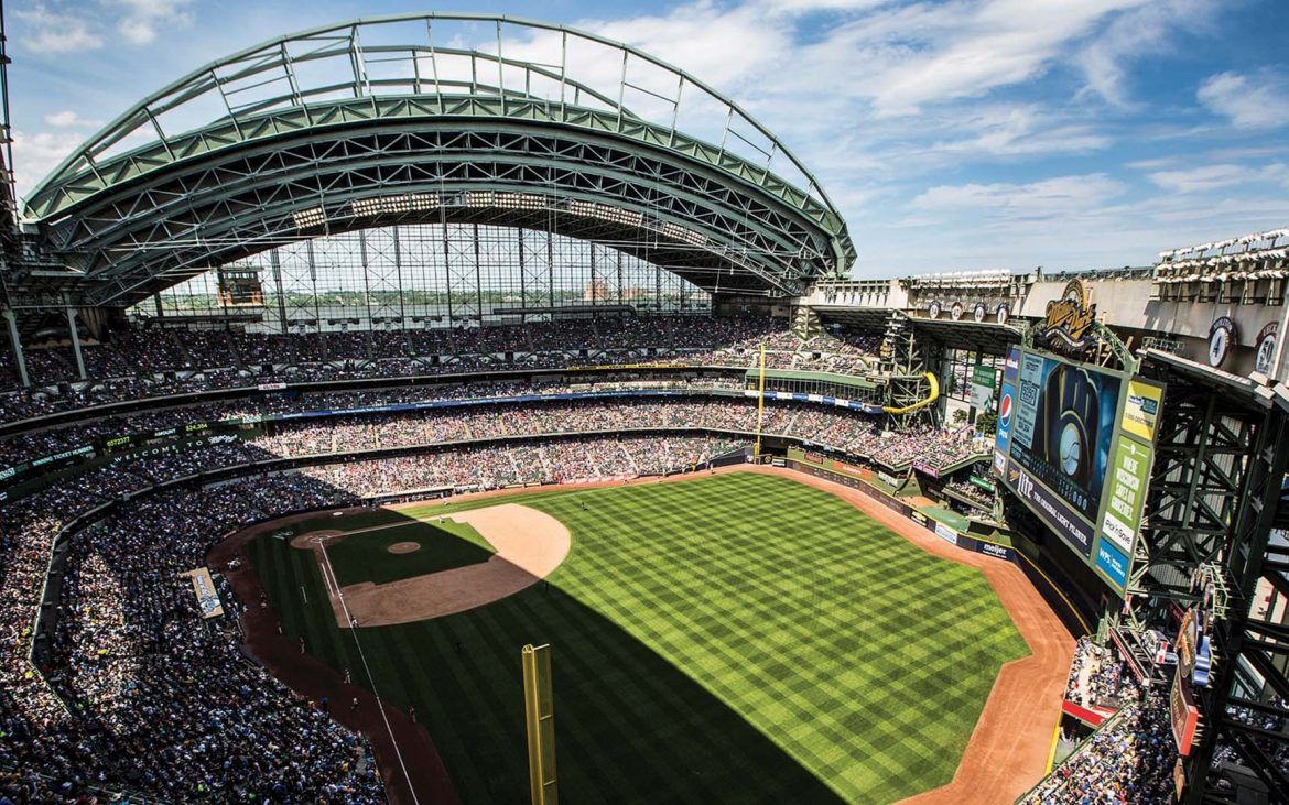 Aerial view of Miller Park baseball stadium - home of the Milwaukee Brewers