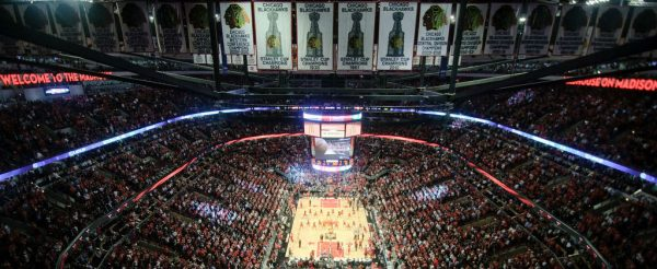 Interior view of United Center during Chicago Bulls game