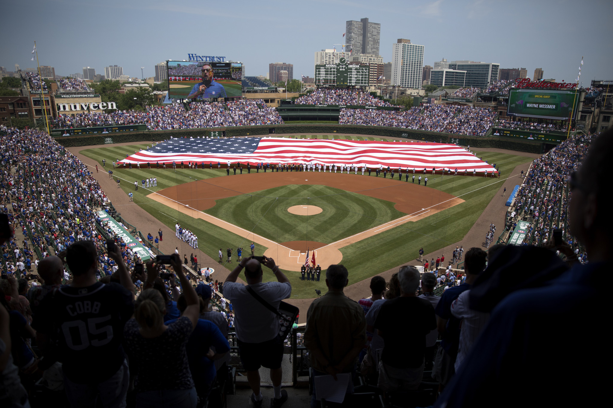 View behind home plate of Wrigley Field during their all-star game