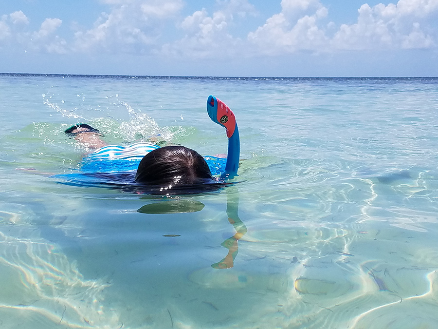 A snorkeler paddles in clear, shallow water.