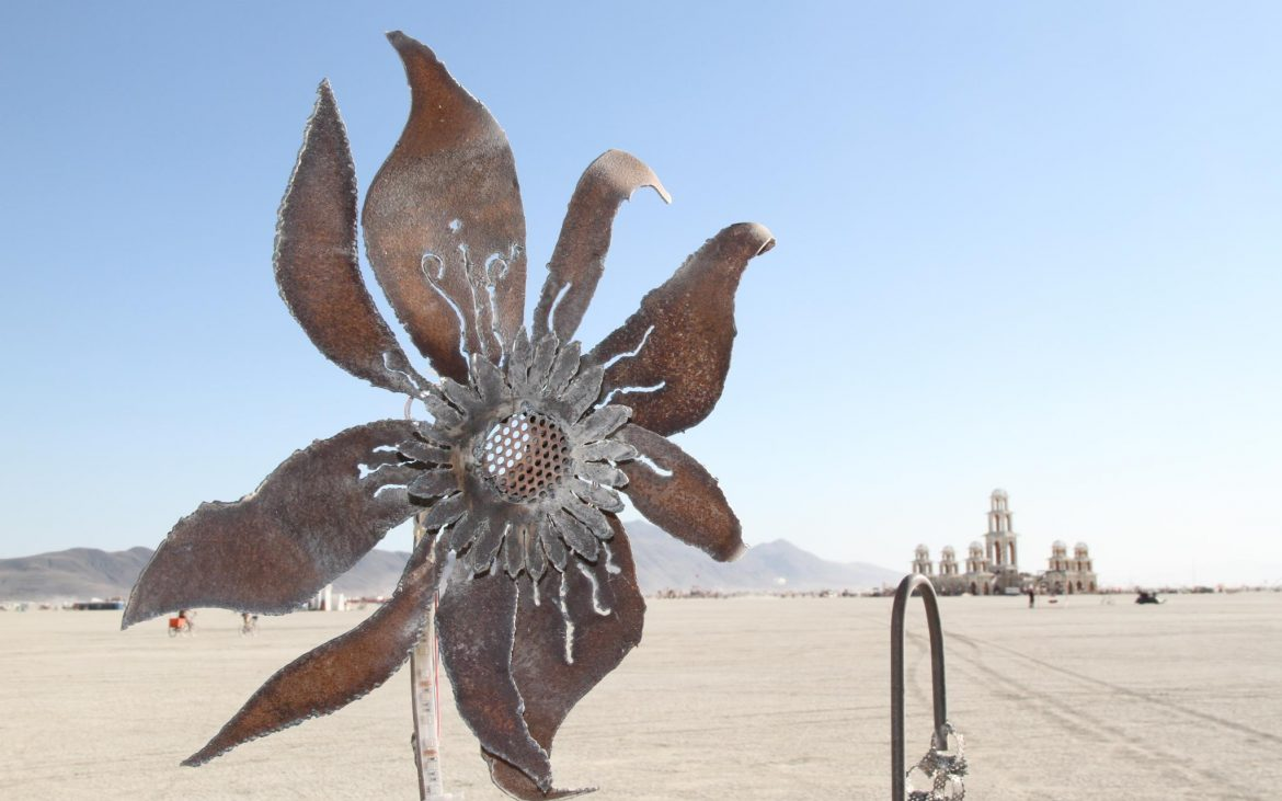 Metal sunflower art installation in the Nevada desert
