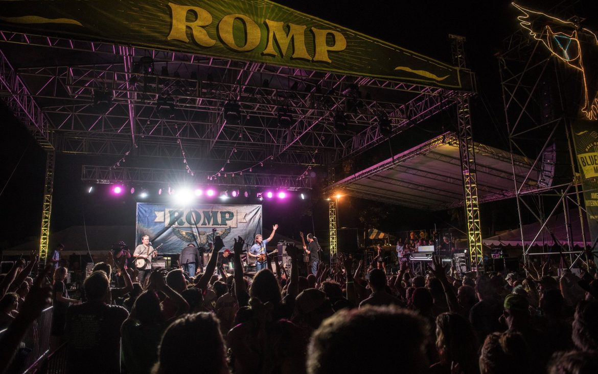 Outdoor concert ROMP stage at night