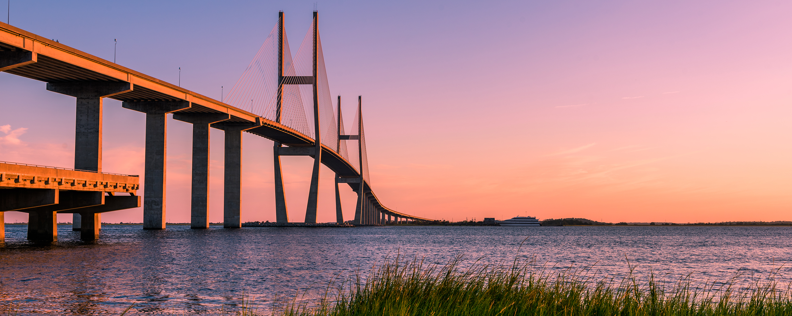 The Sidney Lanier Bridge at sunset