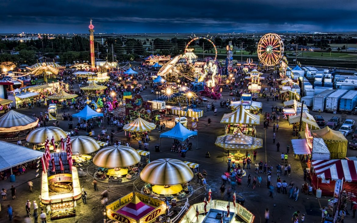Aerial view of carnival and rides