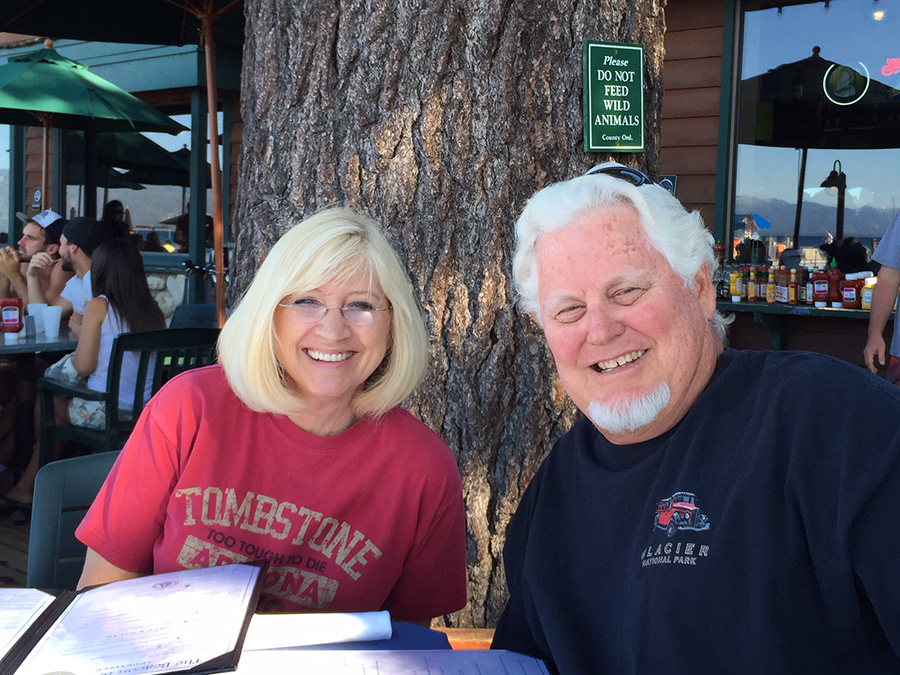 A couple enjoys a relaxing meal in south Lake Tahoe.