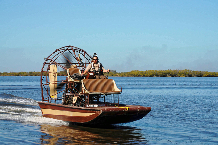 A man pilots an airboat in the Everglades.
