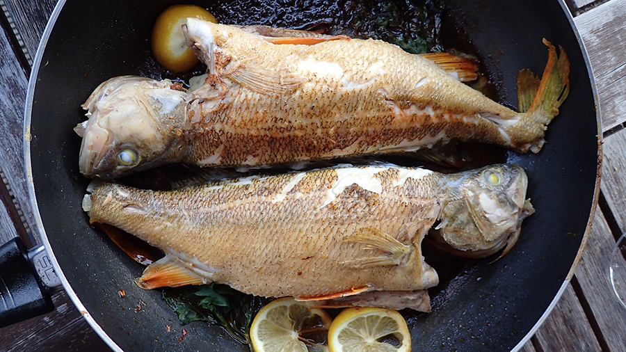 A pair of fish sizzle on the flying pan.