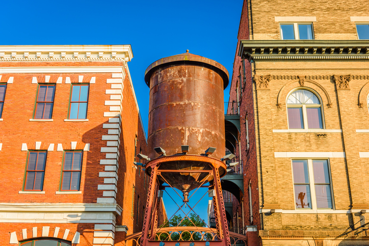 Historic rusted water tower in Mobile, Alabama