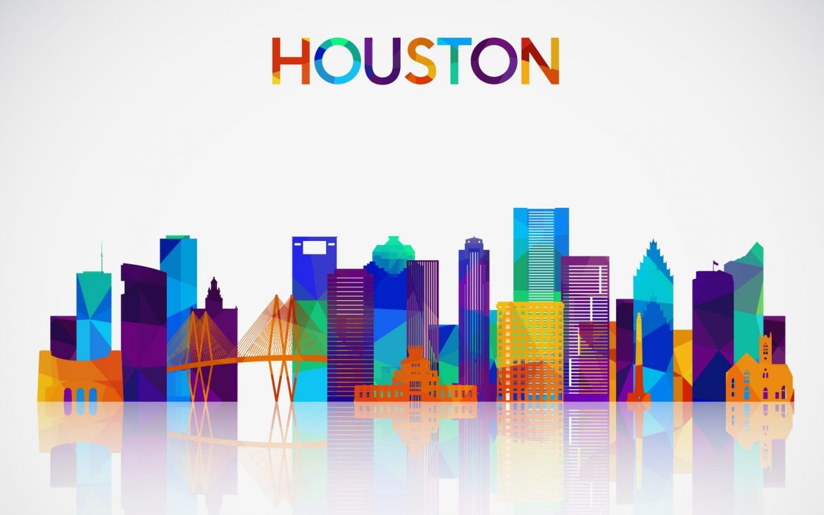 Houston skyline silhouette in colorful geometric style.