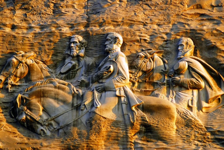 USA June 15, 2008 The controversial carving at Stone Mountain, Georgia depicts three Civil War Confederate Generals on the side of a mountain