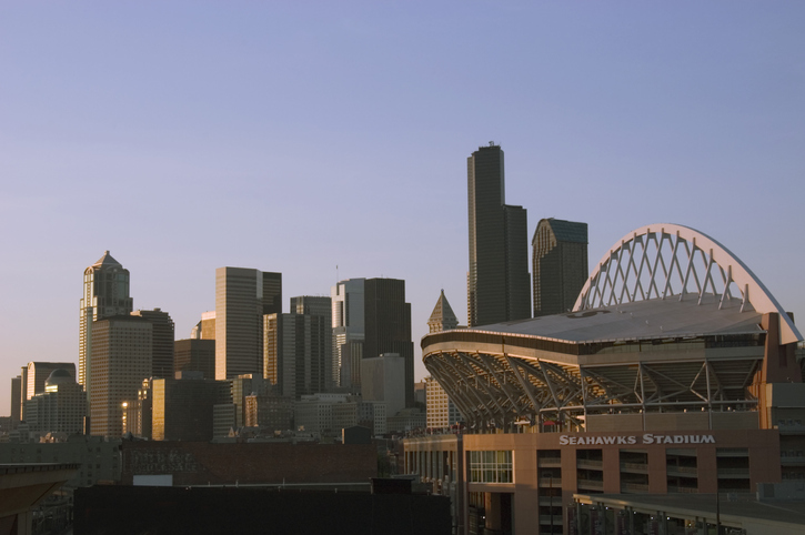 Seattle Cityscape With Seahawks Stadium At Sunset
