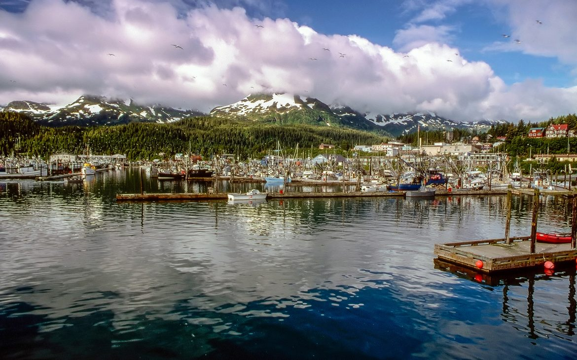 Coastal town water and boats in Alaska