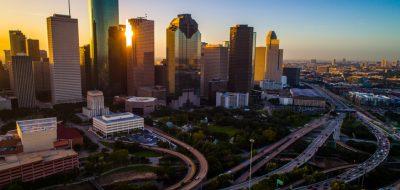 Houston Texas aerial drone sunrise view cityscape skyline