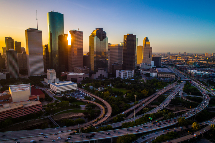 Houston Texas aerial drone sunrise view cityscape skyline