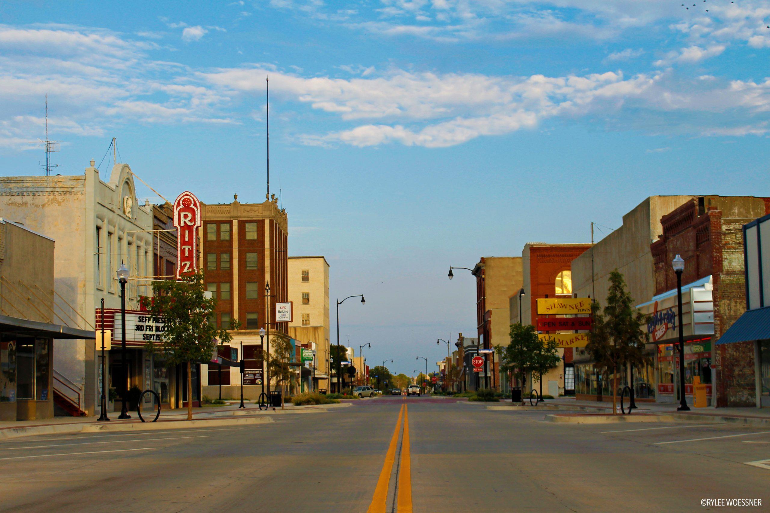 Street running down downtown Shawnee main street
