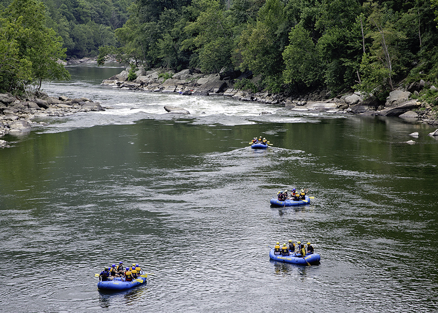 Rafts floating on the New River.